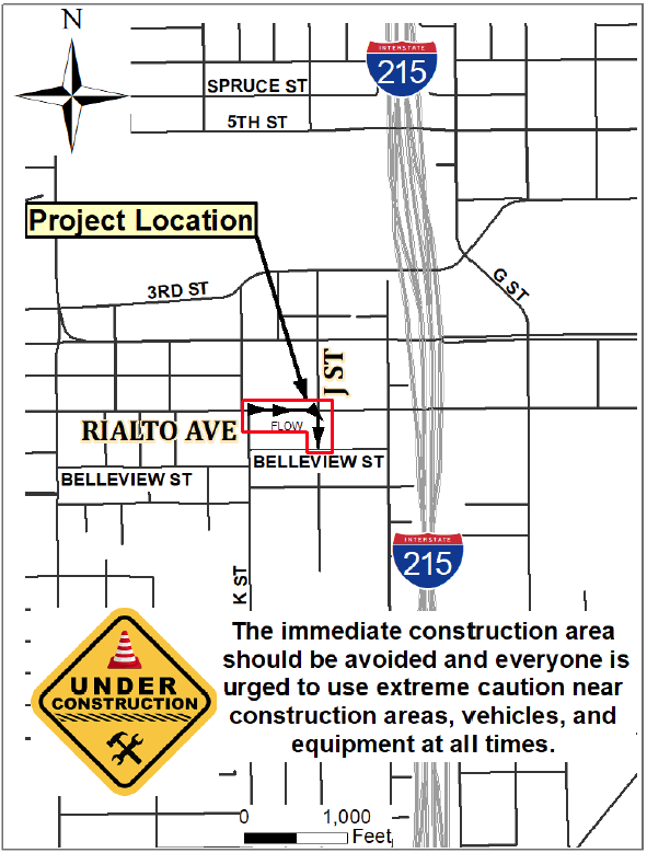 Rialto and J Street Construction MAP