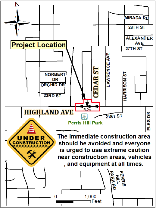 Highland and Cedar Construction Project Map